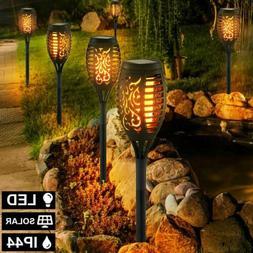 1-10pcs 96LED Solar Torch Light Flickering Dancing Flame Gar