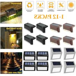 1-12Pack Solar Powered LED Deck Light Outdoor Path Garden St