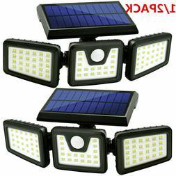 1/2PACK Solar Lights Motion Sensor Security 74 LED Waterproo