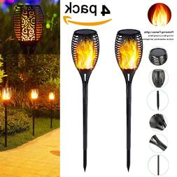 1-4 Pack 96 LED Waterproof Solar Tiki Torch Light Dancing Fl