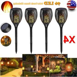 1/4 Pack 96LED Solar Light Path Torch Flame Flickering Light
