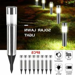 1-8Pcs Solar Pathway Lights Waterproof LED Outdoor Garden La