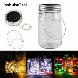 20 LED Solar Mason Jar Lid Lights Fairy String Light Yard Ga