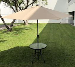 10 Ft 32 LED Light Solar Patio Outdoor Market Aluminum Umbre