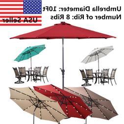10' FT Patio Solar Umbrella LED Patio Market Steel Tilt W/ C