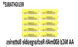 10 pcs Rechargeable NiCd AA 600 mAh Batteries for Solar-Powe
