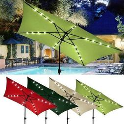 10'x6.5' Patio Outdoor Aluminum Umbrella Solar LED Light Cra