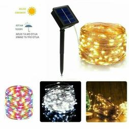 100/200 LED Solar Copper Fairy String Light Lamp Garden Deco