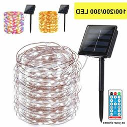 100/300 LED Solar Fairy String Light Copper Wire Outdoor Wat
