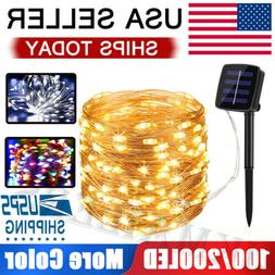 100/200 LED Solar Power String Fairy Lights Garden Outdoor P