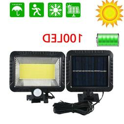100 cob led solar power pir motion