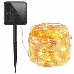 AMIR , 100 LED  Lights, 8 Modes Solar Curtain String Lights,