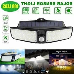 100 LED Outdoor Solar Power Wall Lamp Motion Sensor Security