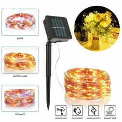100 LED Outdoor Solar String Lights Copper Wire Fairy Light