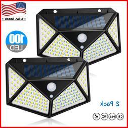 100 LED Solar Lights Outdoor Motion Sensor Wall Yard Garden