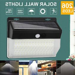 100 LED Solar Power PIR Motion Sensor Wall Light Outdoor Gar