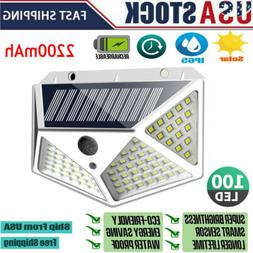 100 LED Solar Powered Light Outdoor Wireless Motion Sensor W