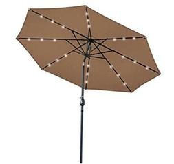ZENY 10FT Deluxe Patio Umbrella w/Solar Powered 24 LED Light