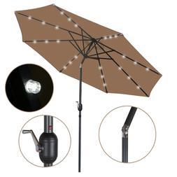 10FT Deluxe Solar 24 LED Lights Patio Umbrella W/ Tilt Adjus