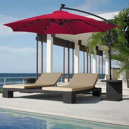 10ft Offset Umbrella With Base Tilt Stand Patio + LED Lights