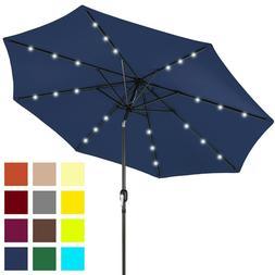 10ft Solar Powered LED Lighted Patio Umbrella w/ Tilt Adjust