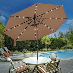 10Ft Solar Umbrella LED Lighted Patio Market  Powered Table