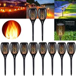 10X 96 LEDs Solar Power Path Torch Lights Dancing Flame Ligh