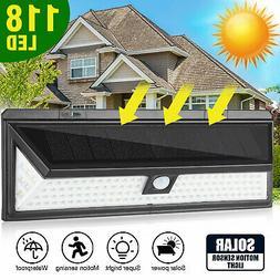 118 LED Solar Power Waterproof PIR Motion Sensor Wall Light