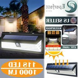118LED Solar Lights PIR Motion Sensor Wall Lamps Outdoor Wat