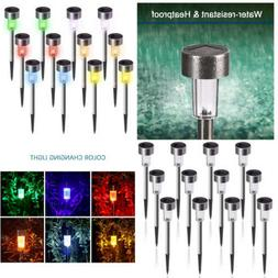 12Pcs Solar Outdoor Garden Lights LED Stainless Steel Waterp