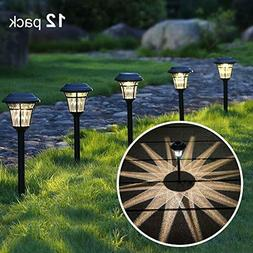 MAGGIFT 12 Pack Solar Pathway Lights Outdoor Garden Warm Whi