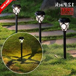 12 Pack Solar Powered Lights Outdoor Pathway Lights , Solar