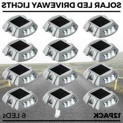 12 PCs Solar LED Marker Lights Safety Light for Pathway Driv