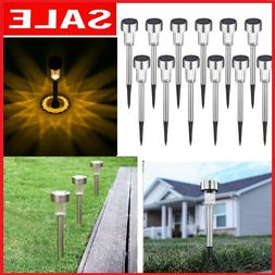 12 pcs Outdoor Garden Stainless Steel LED Solar Landscape Pa