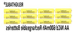 12 pcs Rechargeable NiCd AA 600 mAh Batteries for Solar-Powe