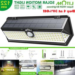 LITOM 122 LED Solar Lights Wall Motion Sensor Garden Patio F