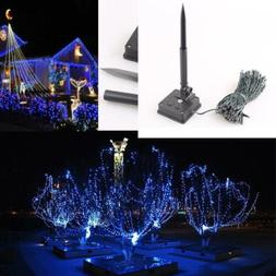 GZYF 12M Blue 100-LEDs Solar Powered Light Xmas Christmas Pa