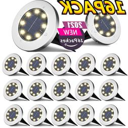 16PACK Solar Ground Lights Outdoor Disk Buried LED Lawn Path