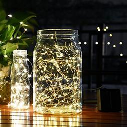 Goodia 49ft 15m 150 LED Solar Waterproof Copper Wire Lights,