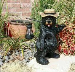 "16.5""h Travelling Black Bear Solar LED Lantern Lamp Figural"