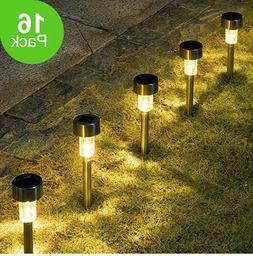 GIGALUMI 16 Pack Solar Path Led Lights Garden Outdoor Stainl