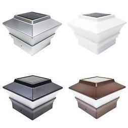 18 Black / Brown / Silver / White 4x4 Solar Post Deck Cap Fe