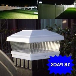"18 Pack LED White 5""X5"" Solar Powered Post Deck Cap Square F"
