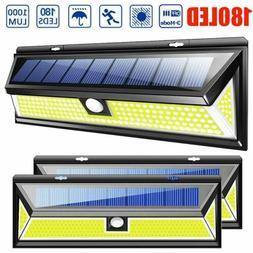 180 LED Solar Power PIR Motion Sensor Wall Light Outdoor Gar