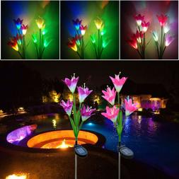2/1Pcs Solar Powered Light 8/4 Lily Flower Multi-Color Chang