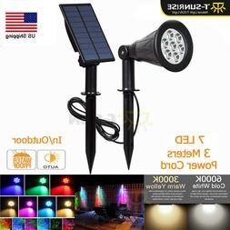 Solar Power 7 LED Spot Lights Waterproof Outdoor Security Li