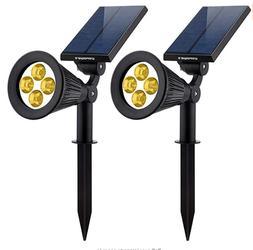 2-in-1 Solar Powered 4 LED Adjustable Spotlight Auto On/Off
