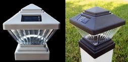 2-Pack Black or White 4x4 Square Solar Post Cap PVC Vinyl De