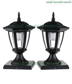 2-Pack BLACK Solar Hexagon Post Cap Lights with WHITE LEDS f