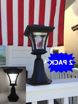 2-Pack Bright LEDs Solar Powered Fence Gate Lamp Post Light